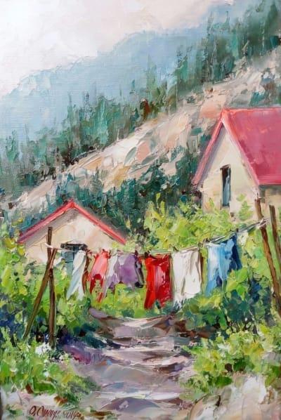 Картина маслом пейзаж «Солнечный день» купить картины для современных интерьеров Украина