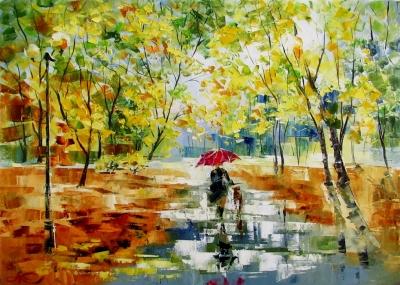 Картина маслом осенний пейзаж «Солнечный дождь» купить живопись для современных интерьеров Украина