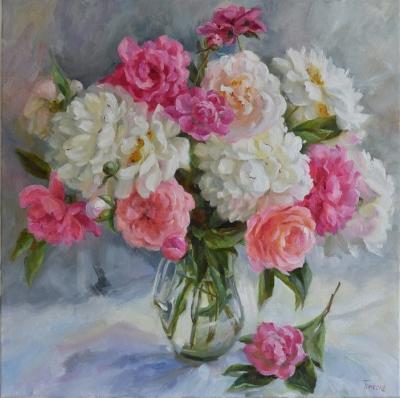 Картина цветы «Солнечные пионы» купить живопись для современных интерьеров Украина