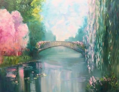 Картина маслом природа пейзаж «Созерцание тишины» купить живопись для современных интерьеров Украина
