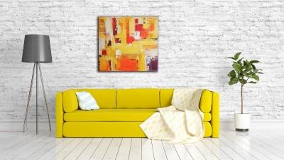 Картина абстракция для современного интерьера «Sunrise» купить живопись Киев