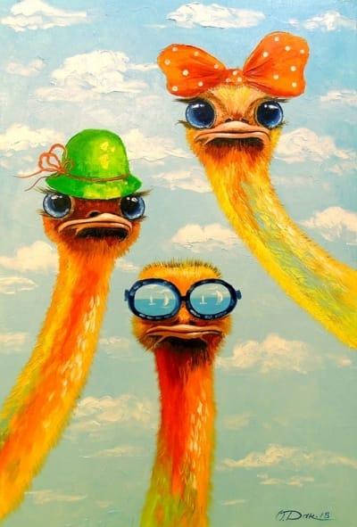 Картина маслом детям «Страусы - друзья» картины для детской комнаты