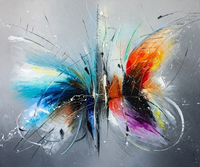 Картина маслом «Свидание бабочек» купить живопись для современных интерьеров Украина