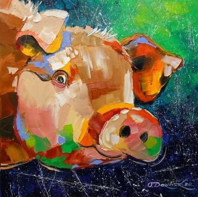Картина маслом «Свинья» купить живопись для современных интерьеров Украина