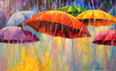 Картина маслом «Танцующие зонтики» - картины для современных интерьеров Украина