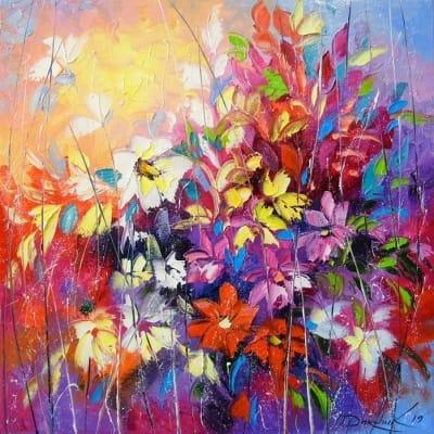 Картина маслом цветы «Танец цветов» купить живопись для современных интерьеров Украина
