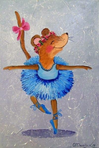 Картина маслом детям «Танец мышки» купить живопись для современных интерьеров Украина