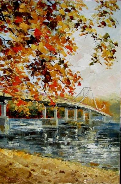Картина маслом пейзаж «Теплая осень в Киеве» купить живопись для современных интерьеров Украина