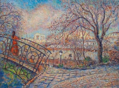 Картина городской пейзаж «Тещин мост в Одессе» купить живопись для современных интерьеров Украина