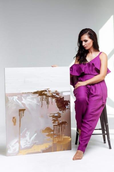 Картины абстракции для современного интерьера «Ты - мое золото» живопись маслом Украина