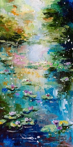 Картина маслом пейзаж «Тихий пруд» купить живопись для современных интерьеров Киев