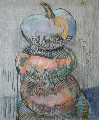 Картина акрил «Тыквы» купить живопись для современных интерьеров Киев