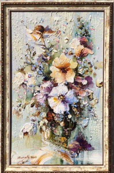 Картина маслом цветы «Тишина» живопись для современных интерьеров