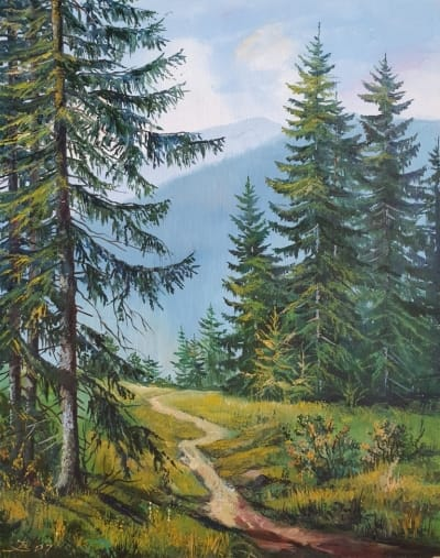 Горный пейзаж картина маслом «Тишина горной прохлады» купить картину Киев