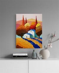 Картина маслом летний пейзаж «Тоскана» купить живопись для современных интерьеров Украина