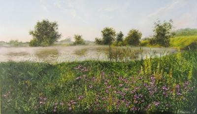 Картина «Травы. Утро. Река» - купить живопись для современных интерьеров Украина