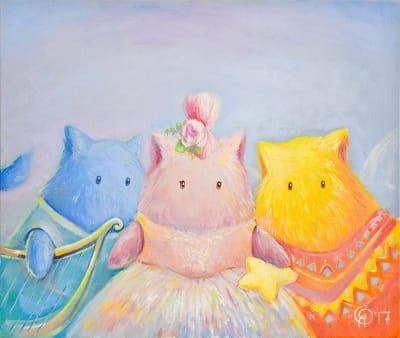 Картина для детской комнаты «Три музы. Пухнастики» купить картину маслом Киев