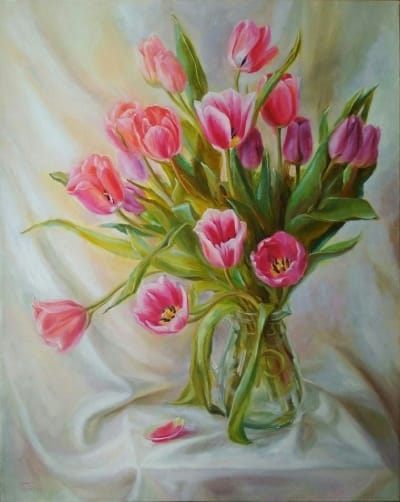 Картина цветы «Тюльпаны» купить живопись для современных интерьеров Украина Киев