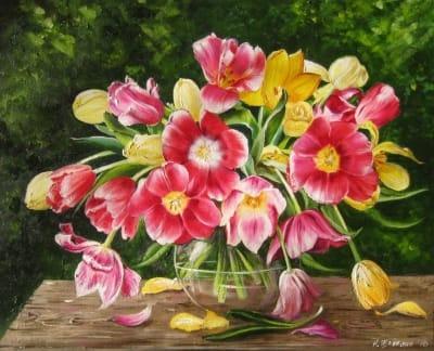 Картина цветы «Тюльпаны» - купить живопись для современных интерьеров Украина