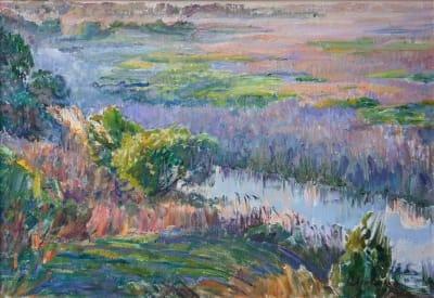 Картина маслом пейзаж природа «Туман на речке Удай» купить живопись для современных интерьеров Украина