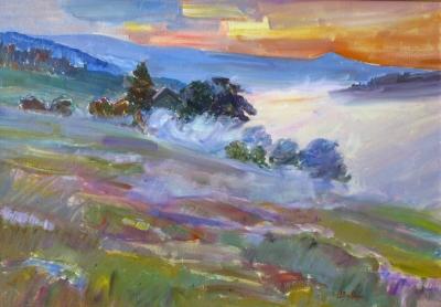 Картина маслом пейзаж природа «Туманное утро в Карпатах» купить живопись для современных интерьеров Украина