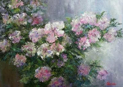 Абстракция картины цветы маслом «Ветка чайной розы» для современных интерьеров