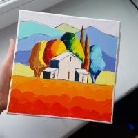 Картина маслом летний пейзаж «Тоскана. Закат» купить живопись для современных интерьеров Киев