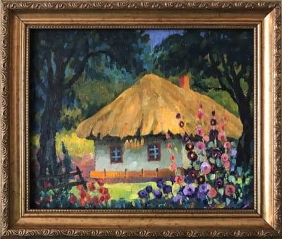 Картина маслом сельский пейзаж «Украинская хата и мальвы» купить картину для современных интерьеров Украина