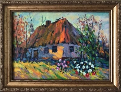 Картина маслом сельский пейзаж «Украинская хата» -  картины для современных интерьеров Украина
