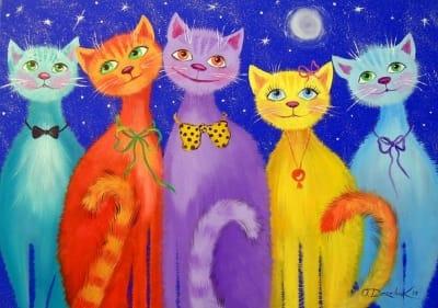 Картина маслом «Улыбчивые коты» купить живопись для современных интерьеров Украина