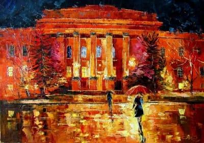 Картина маслом киевский пейзаж «Университет» - живопись для современных интерьеров Украина