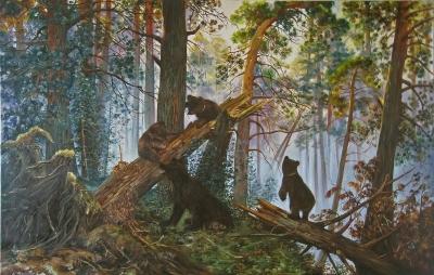 Картина копия Шишкина «Утро в сосновом лесу» купить живопись для современных интерьеров Украина