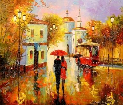 Картина маслом «В городе всегда вдвоем» - картины для современных интерьеров Украина