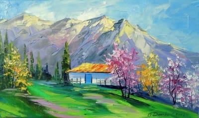Картина маслом весенний пейзаж «Весна в горах» купить живопись для современных интерьеров Украина