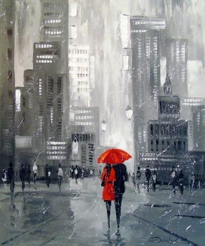 Картина городской пейзаж «Вдвоем в Нью-Йорке» купить живопись для современных интерьеров Украина