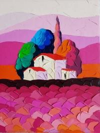 Картина маслом пейзаж «Вечерняя Тоскана» купить живопись для современных интерьеров Киев