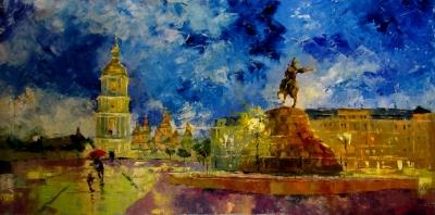 Картина маслом киевский пейзаж «Вечер на Софиевской площади» купить живопись для современных интерьеров Украина