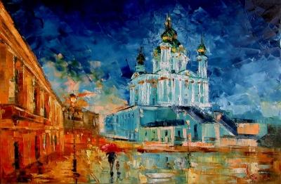Картина маслом городской пейзаж «Вечерний Андреевский спуск» купить живопись для современных интерьеров Украина