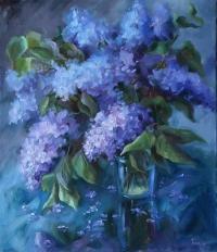 Картина цветы «Вечерняя сирень» купить живопись для современных интерьеров Украина