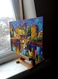 Картина маслом «Вечерний город» живопись для современных интерьеров