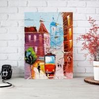 Картина маслом городской пейзаж «Его величество Львов» купить живопись для современных интерьеров Украина