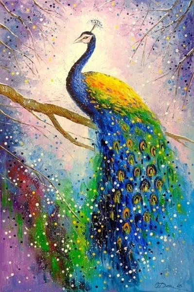 Картина маслом для современных интерьеров «Великолепный павлин» живопись анималистика Киев