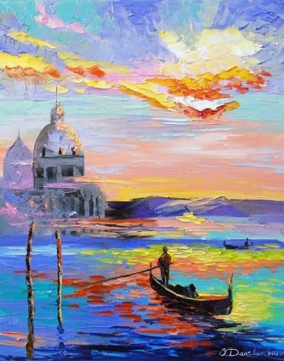 Картина городской пейзаж «Венеция и гондолы» купить живопись для современных интерьеров Украина
