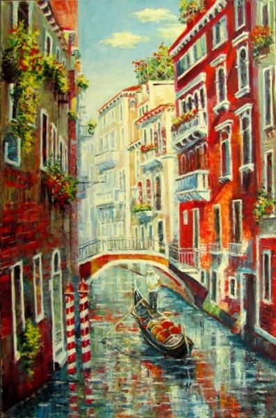 Картина маслом пейзаж «Венеция» купить современную живопись Украина