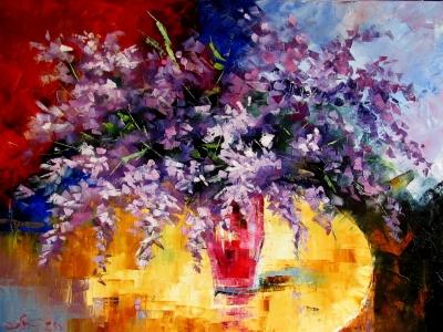 Картина маслом цветы «Весеннее настроение» купить живопись для современных интерьеров Украина