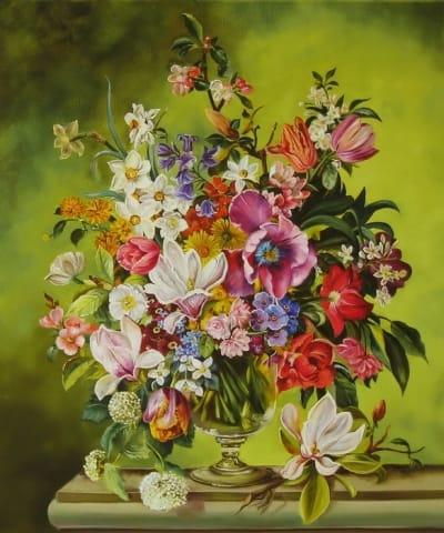 Картина цветы «Весенний букет на зеленом фоне» купить живопись для современных интерьеров Украина