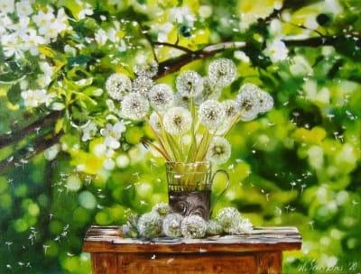 Картина цветы «Весенний день. Одуванчики» купить живопись для современных интерьеров Украина