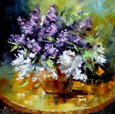 Картина маслом цветы «Весенняя вспышка» купить живопись для современных интерьеров Украина