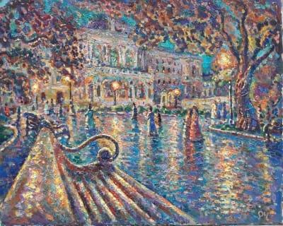 Картина городской пейзаж «Вечер у Оперного» купить живопись для современных интерьеров Украина