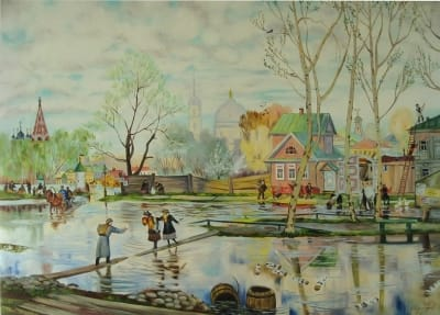 Картина «Весна» копия Бориса Кустодиева